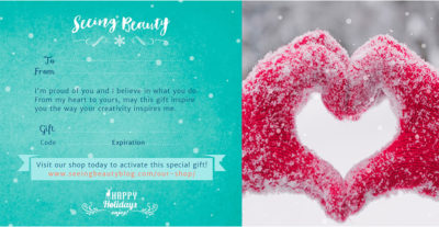 gift certificate for seeing beauty online course and ebook library